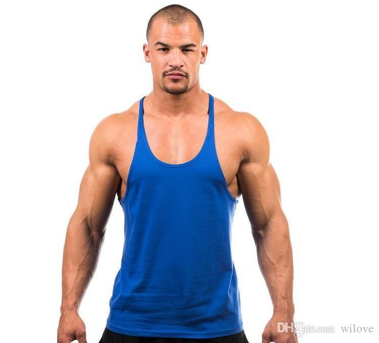 Muscle Tops Algodón Stringer Bodybuilding Equipment Fitness Gym camiseta sin mangas Solid Single Y Back Sport Clothes Vest