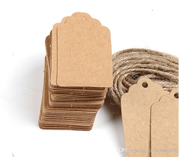 FAI DA TE Carta Kraft Tag Vintage Marrone Pizzo Capesante Etichetta Testa Bagagli Nota di Nozze prezzo in bianco Hang tag Regalo Kraft 5x3 cm 100 Pz / lotto