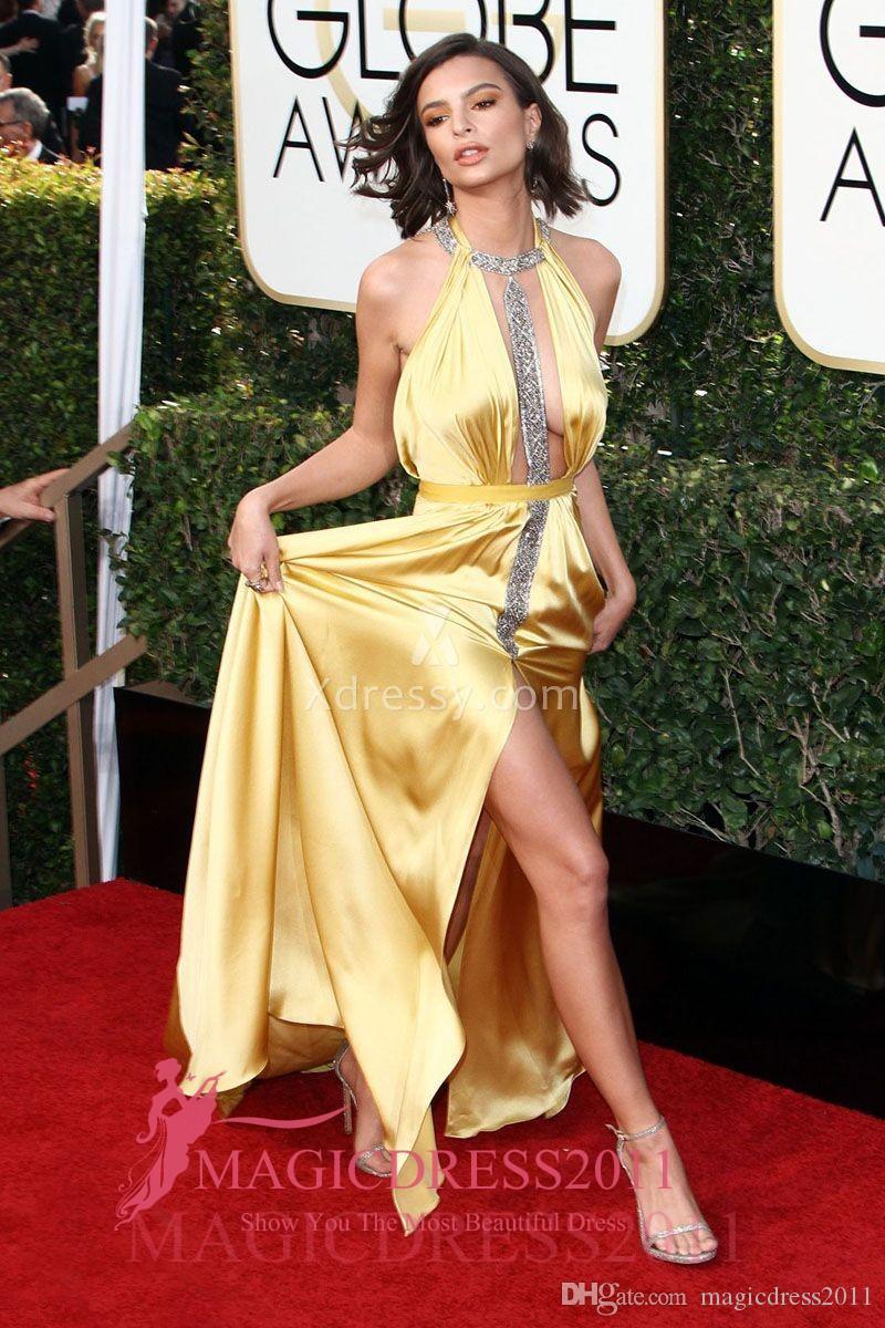 Emily ratajkowski sexy amarelo sereia cetim frisado vestidos de noite de baile globos de ouro 2019 frisado formal celebridade vestido de festa vestidos