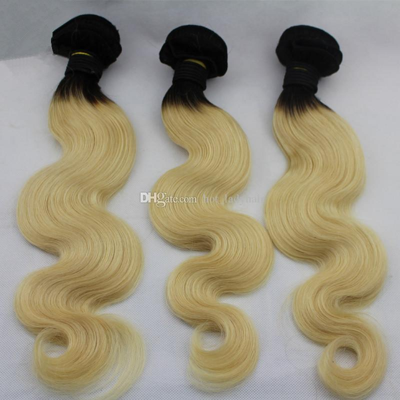 Indian Virgin Hair 1B 613 Ombre Hair Bundles With Pre Plucked 360 Lace Frontal Closure Dark Roots Blonde 360 Lace Frontal With Bundles