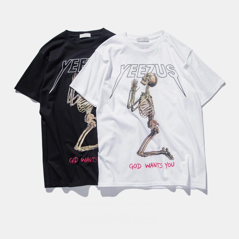 1373a0c66 Wholesale Yeezus Tour Kanye West T Shirt Merch Indian Headdress Skull Red  Letter Short Sleeve T Shirt Tee HBA Hip Top T Shirt TOPS 4XL Tee Shirt  Deals ...