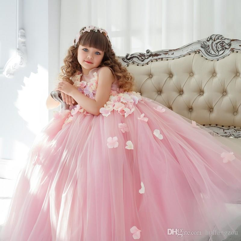 Pink Flower Girl Dresses For Wedding Applique Jewel Neck Sleeveless Girls 3D Floral Applique Party Wears Floor Length Pageant Ball Gowns