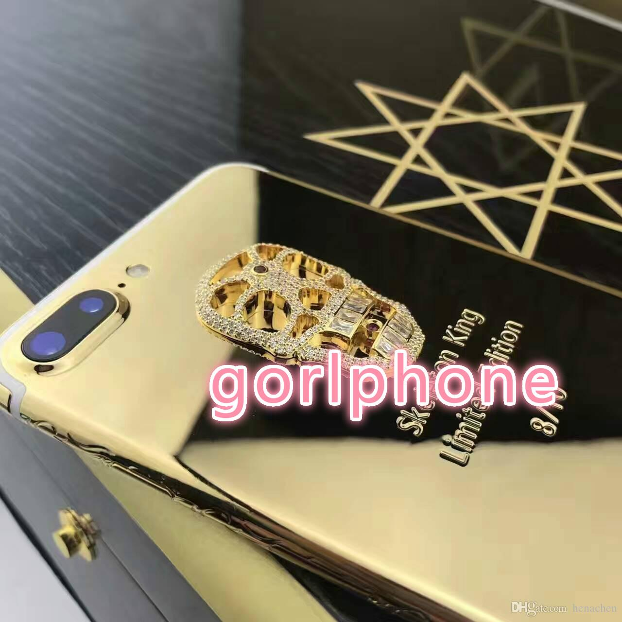 Real Gold skeletonPlating Back Housing Cover Skin Battery Door For iPhone 7 7+ Multifunction Real gold case for iPhone7 7 plus
