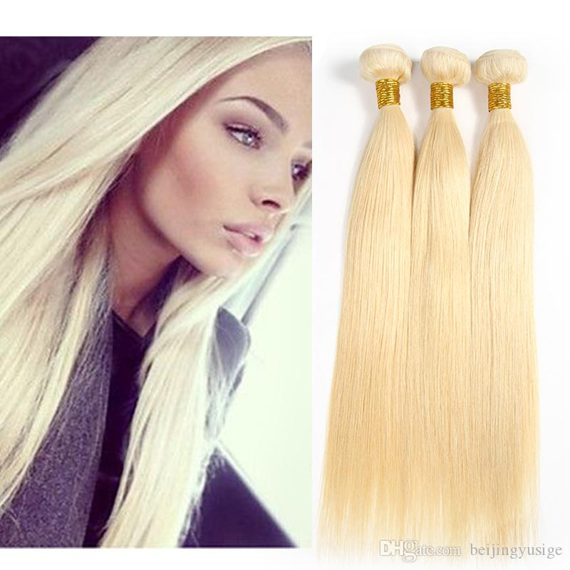 613 Blonde Brazilian Straight Human Hair Weave Bundles Ysg Products