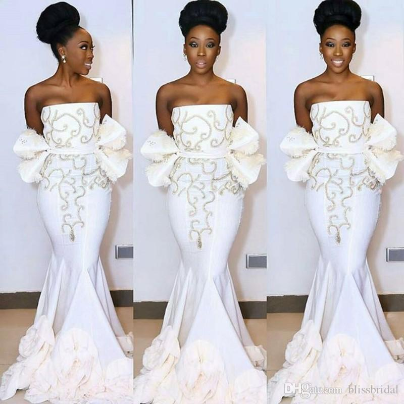 Elegant White Aso Ebi Strapless Evening Dresses Mermaid Sweep Train Prom Dress Peplum Zipper Back 2017 African WomenFormal Gowns