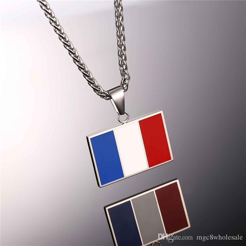 U7 New Hot Fashion France National Flag Pendant Necklace Jewelry Stainless Steel/Gold Plated Patriot French Banner Necklace Women/Men GP2444