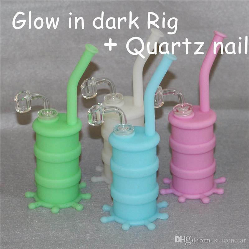 Silicon Stigs Silicone Hookah Bongs Brilho no Óleo escuro Dab Rig com Clear 4mm 14mm Masculino Quartz Nails