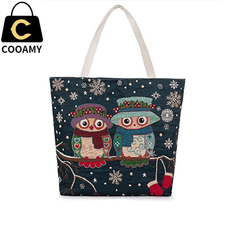 Wholesale Women Beach Bag Fashion Female Canvas Cartoon Owl ...