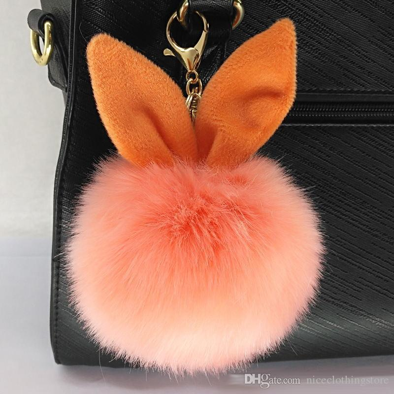 DHL New Design Doll Genuine Rabbit Ear Shape Fur ball Plush Key Chains Car Keychain Bag Pendant Fashion Accessories