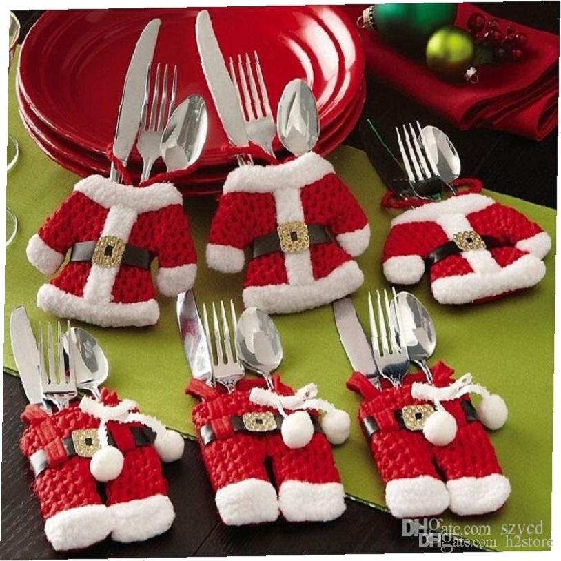 happy santa claus tableware silverware suit christmas dinner party decor christmas decorations support wholesale christmas decorations sales christmas