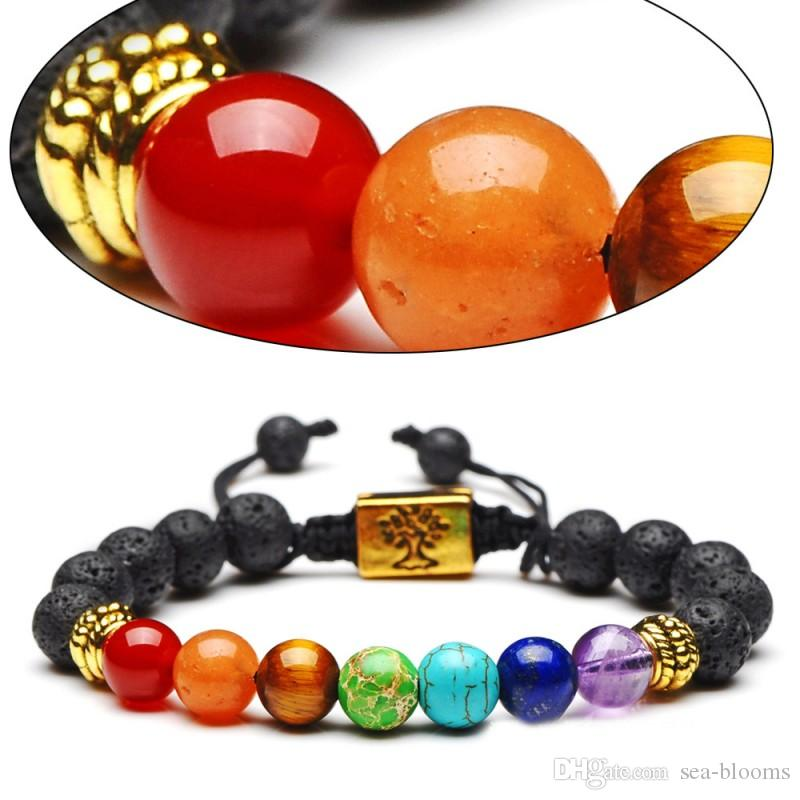 Silver Gold Color 7 Chakra Tree of Life Braided Rope Bracelet Reiki Healing Balancing Round Beads Valentine's Gift FBA Drop Shipping D235S