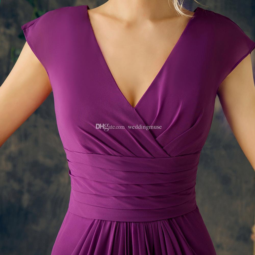 Plus Size Mother Of The Bride Dresses Formal Long Gowns Purple Chiffon A Line Floor Length Pleats 2018 Party Dresses For Women EV134