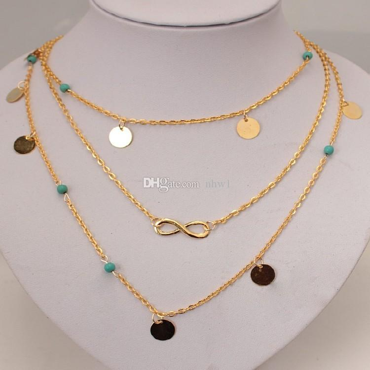 Kadınlar için yeni Çok Katmanlı Altın Renk Püskül Infinity Kolye Vücut Zincir Mücevherat Bohemian Turkuaz Gerdanlık Yakası collier