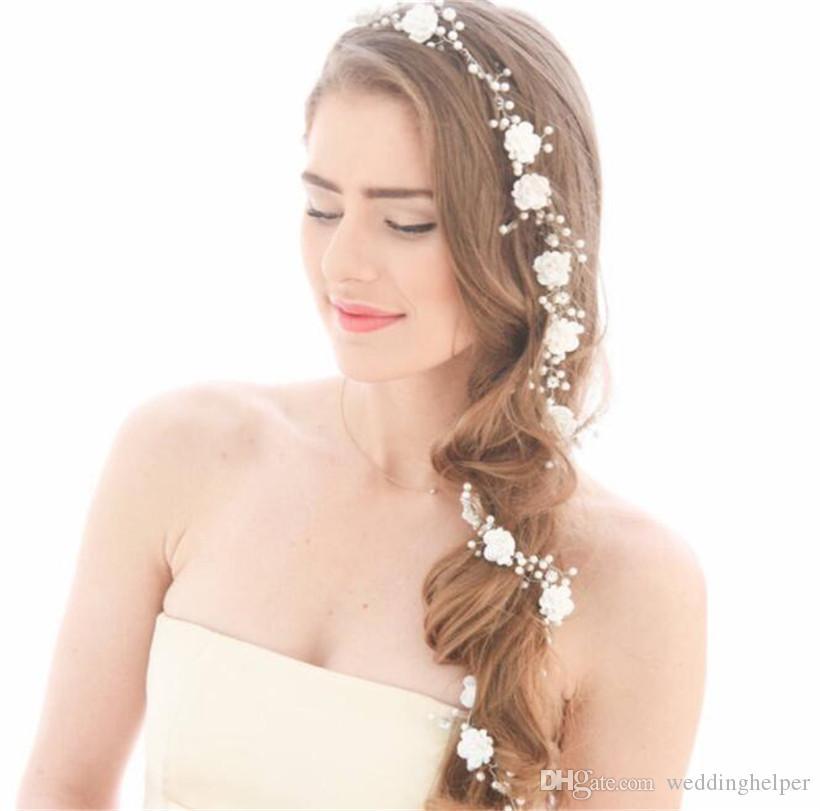 Mariage Mariée Fleur Cheveux Longs Chaîne Bande Bandeau Cristal Strass Couronne Diadème Coiffe Bijoux Perle Coiffure Princesse Reine Bande De Cheveux