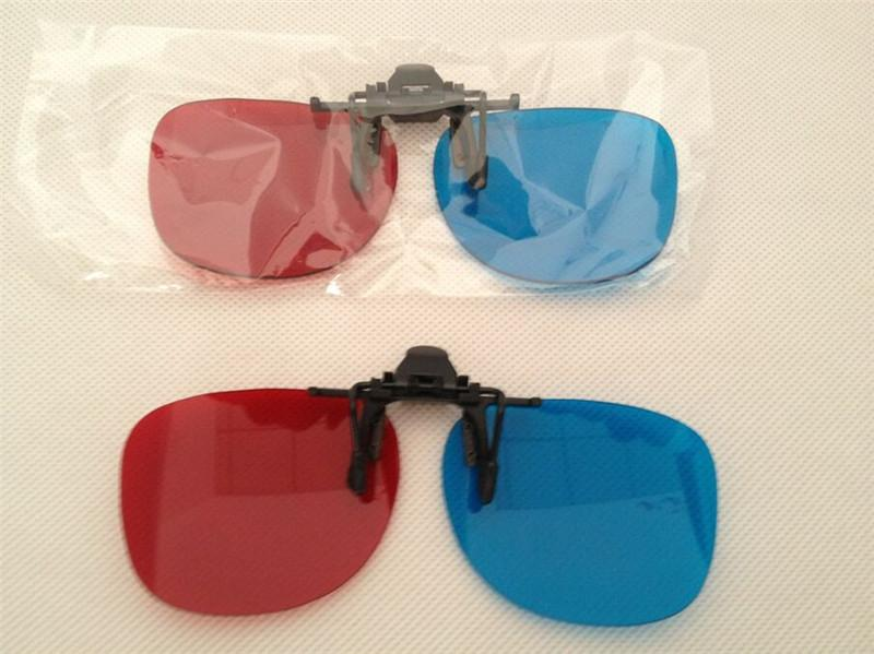 Venta caliente gafas con clip 3D Gafas 3D Lente Anaglyph para ver películas en 3D y juegos azul rojo envío gratis