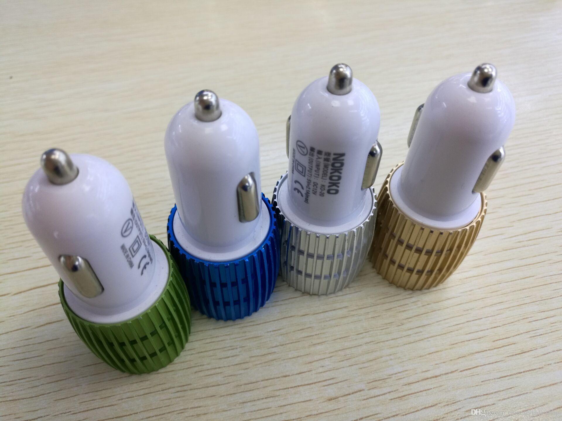Real 1a Dual USB Billaddare Blå Ljus LED Aluminium Alloy Metal Adapter för Smart Phone /