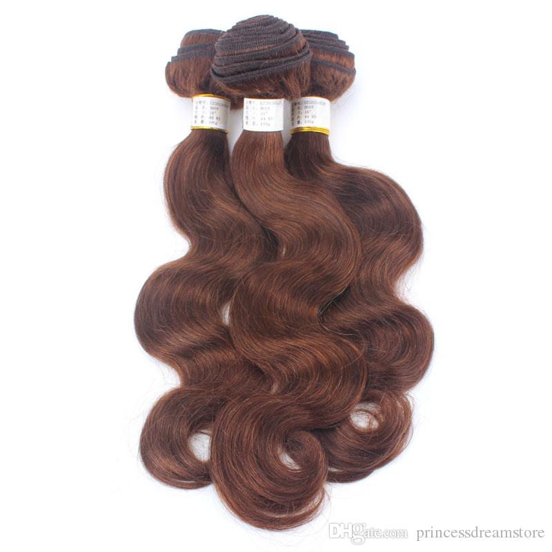 Brown Color 13x2 Ear to Ear Lace Frontal Closure With Bundles Brazilian Hair Body Wave With Closure Human Hair Weft With Closure