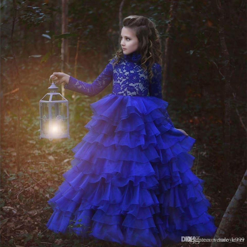 2019 Yeni Varış Çiçek Kız Elbise Kraliyet Mavi Yüksek Boyun Uzun Kollu Balo Dantel Aplikler İlk Pageant Törenlerinde