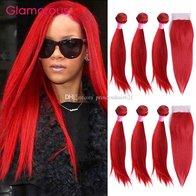 2018 glamorous red hair weaves brazilian body wave straight human 49 pmusecretfo Image collections