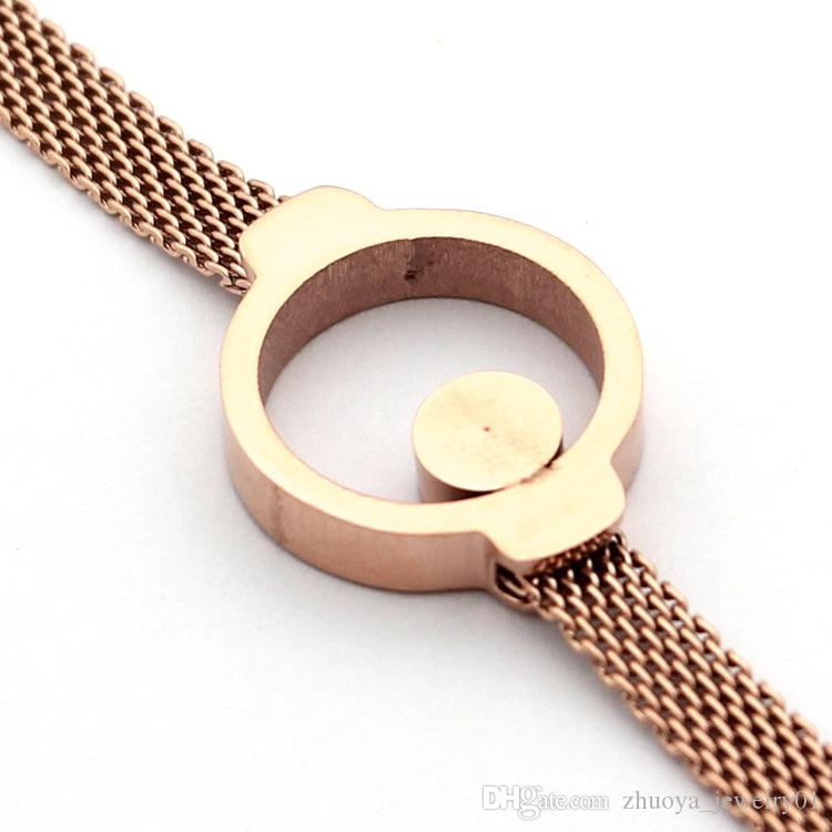 Wholesale foreign trade titanium steel jewelry hot ring single diamond wire bracelet 18K gold foreign trade Korean bracelet