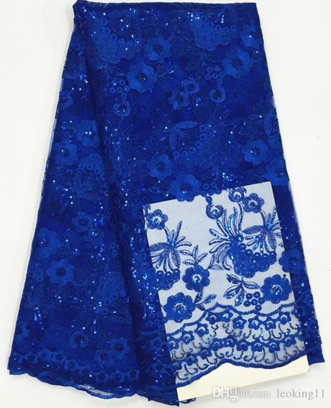 5 yardas / tela de encaje neto de PC más popular azul de pequeñas lentejuelas diseño de la flor del cordón de malla africano francés para la ropa BN47-6