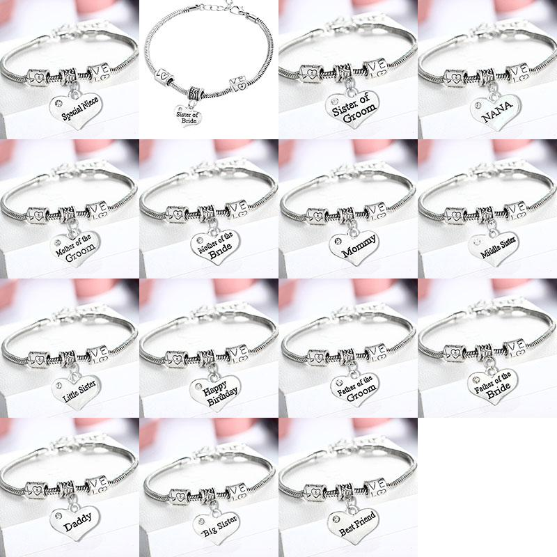 Crystal Heart Bracelets Daddy Mommy NANA Big Sister Best Friend Bride Love Charms Wedding Bracelet Bangle Cuff Jewelry Drop shipping