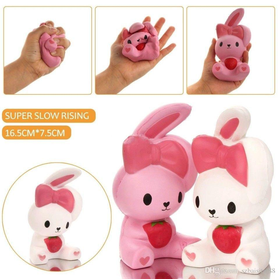 Cute Squishy Big Ear Rabbit 15CM Jumbo Slow Rising Cute Phone Straps Colossal Fun Rabbit Kid Toy Squeeze Soft Relieve Charm Anxiet Gift