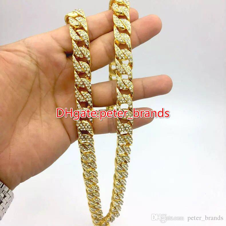 2019 Fashion Mens Gold Cuba Chain Hip Hop Rappers Necklace Hot Sales  Classic Model Glue Diamonds Jewelry From Peter brands 6f8f6fe9be