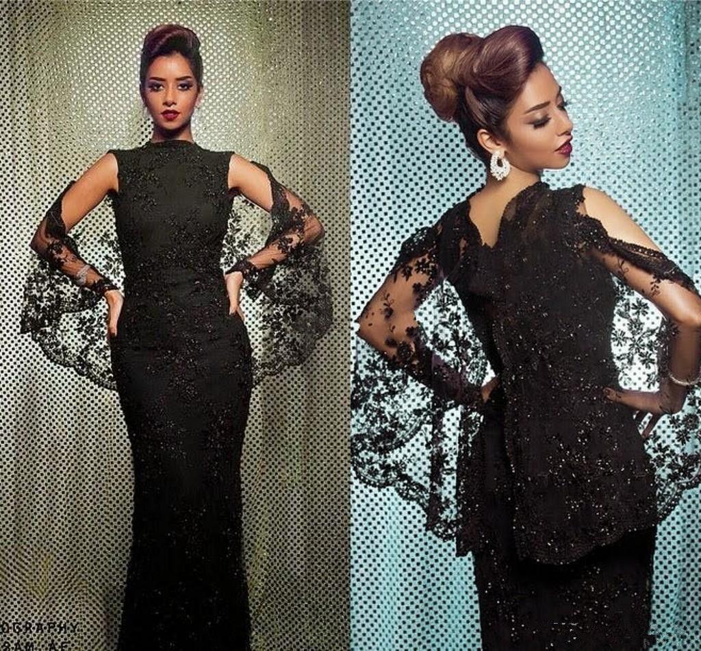 Элегантный 2017 черное кружево вечерние платья бисер аппликация с плащом высокая шея мать невесты Платья вечернее платье