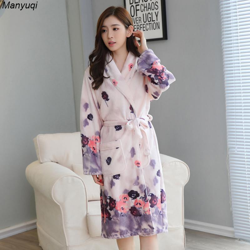 0f41741cb6 2019 Wholesale Women S Winter Flannel Bathrobes Floral Long Warm ...