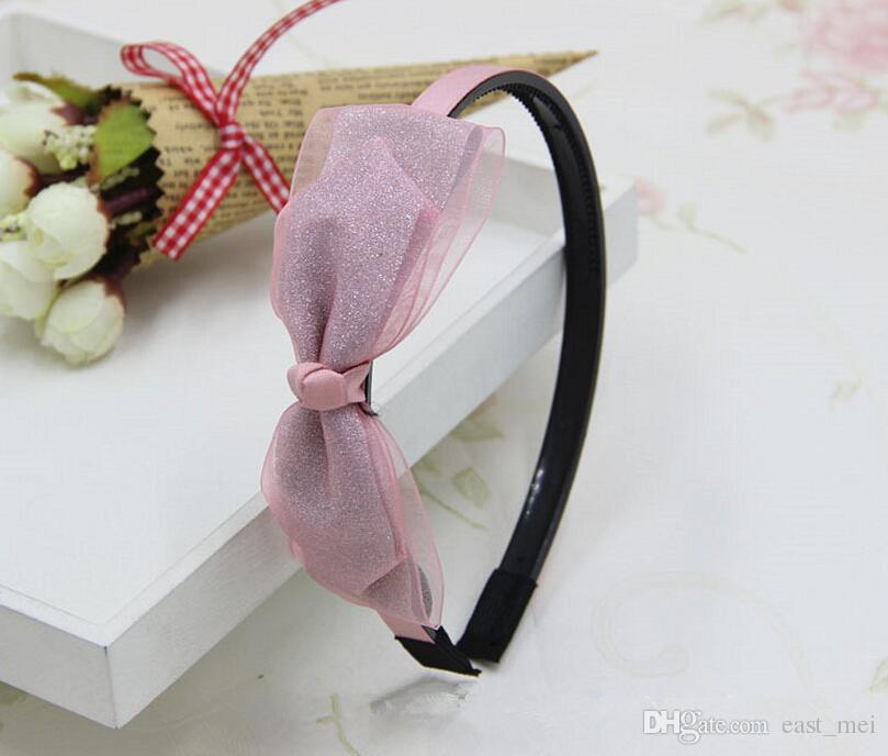 High quality New anti-net yarn hair hoop ladies fashion jewelry bright double double bow knot hoop TG041 a