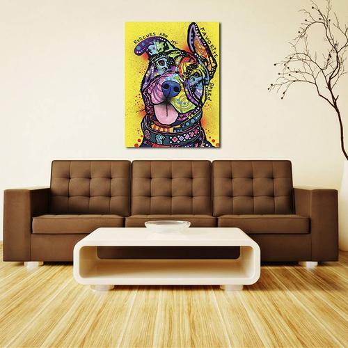 Satın Al çerçevesiz Soyut Yağlıboya Renkli Köpek Duvar Dekoru Sanat