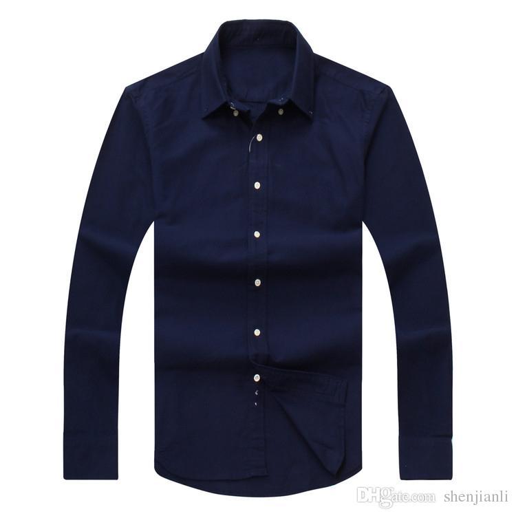 Camisa de manga larga camisa de algodón de los polos de los Casual Corte clásico sólido hombres de las camisas de la moda 2017 nuevos hombres caen de envío