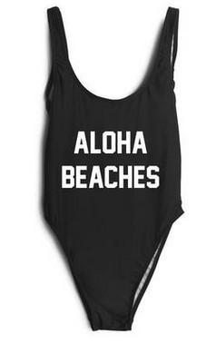49f9446725 2019 Plus Size Swimwear Women One Piece Swimsuits New Beach Padded Print  Letter ALOHA BEACHES Vintage Retro Bathing Suits Swim Wear From Topoutlets,  ...