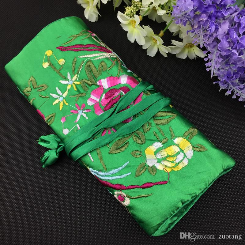 portable embroidery travel jewelry roll up bag and 3 zipper pouch silk satin cloth gift packaging necklace bracelet earring ring storage from zuotang - Jewelry Roll