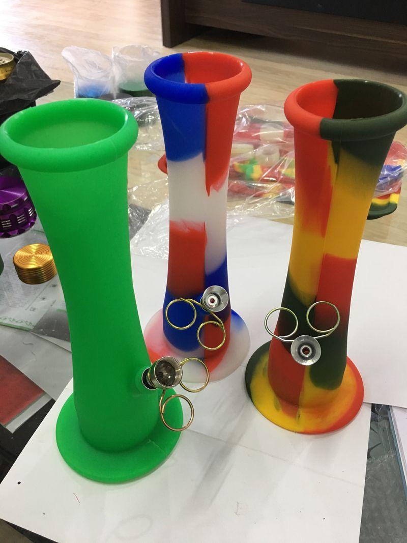 Tubos de agua de silicona portátiles de colores individuales de varios colores para fumar bongs de percoladores de agua de hierba seca e indestructible