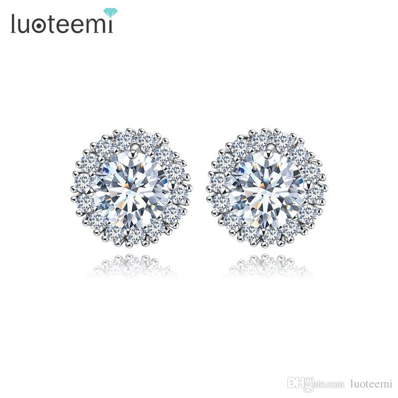 2018 Luoteemi New Fashion Crown White Gold Color Stud Earrings Girl Party  Brincos Prong Clear Cubic Zircon Crystal For Women Jewerly From Luoteemi e524ab7ec729