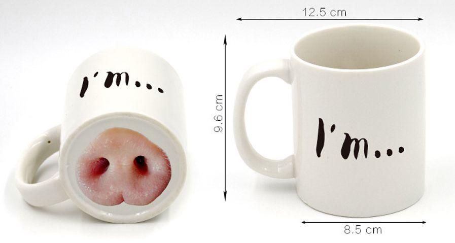 creative personalized mug funny gfit cartoon pig nose pattern