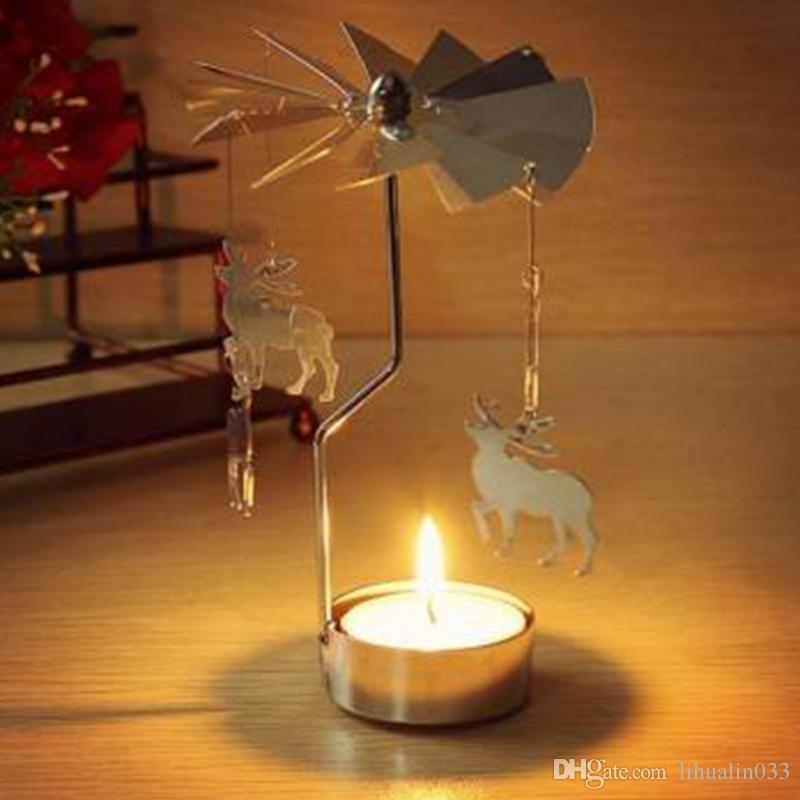 Feriado Romântico Castiçal de Rotação Castiçais Rotativo Da Porta Moinho de Vento Castiçal Decoração de Festa de Natal