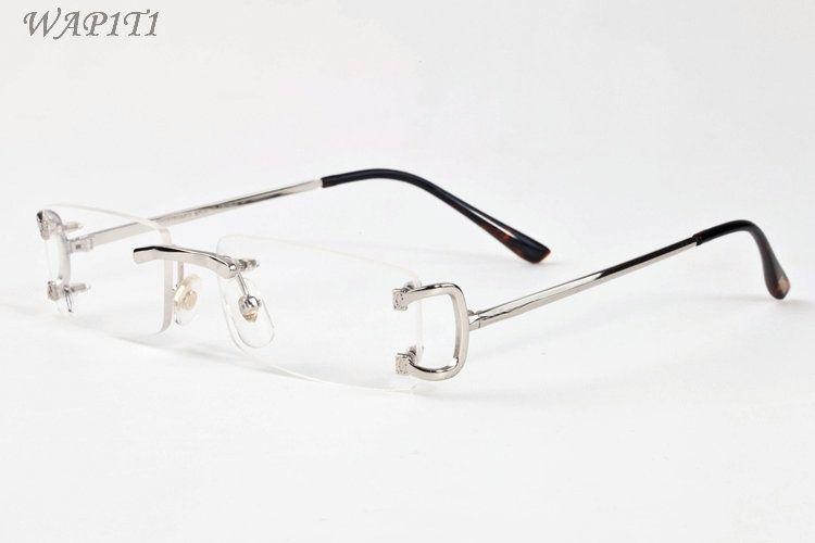 fashion mens attitude sunglasses for men buffalo horn glasses 2020 spot rimless vintage retro glasses eyeglasses gold silver metal clear len