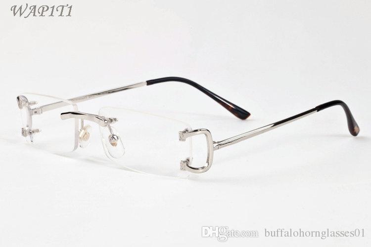 mens moda óculos de sol atitude de chifre de búfalo homens óculos sem aro 2020 local do vintage retro óculos óculos ouro, prata metálica len claro