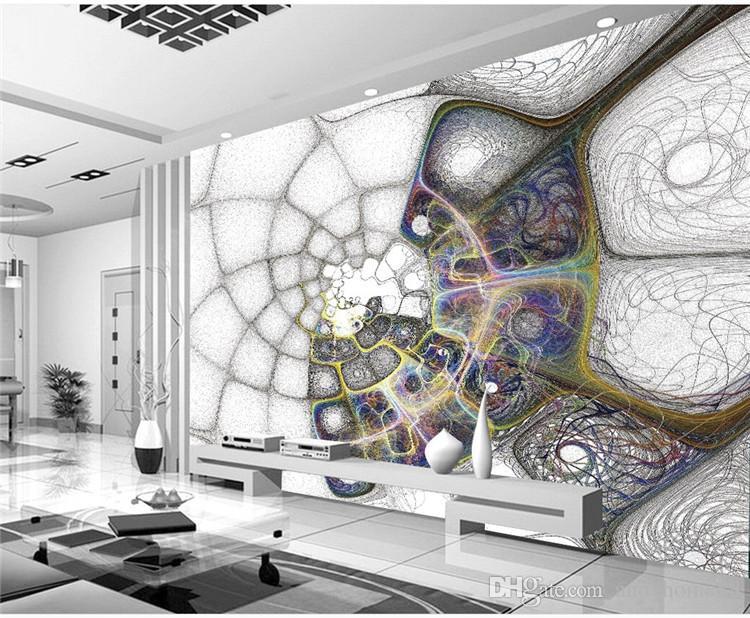 3D Stereo Convex Makeup Murals Line Texture Fashion Net Living Room Sofa Bedroom Bedroom TV TV Wall