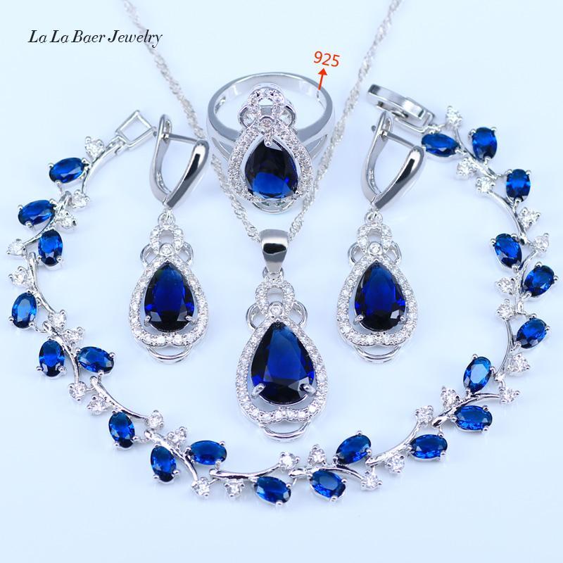 L&B Best Wedding Present Purple Crystal White Zircon Jewelry Sets 925 logo Silver Color Women Bracelet/Earrings/Necklace/Ring