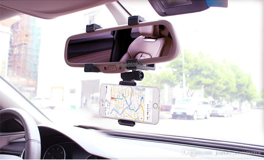 For Cellphone Car Mount Car Holder Universal Rearview Mirror Holder Cell Phone GPS holder Stand Cradle Auto Truck Mirror With Retail Package