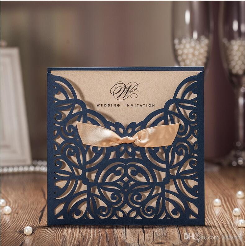 2017 New Ribbon Bow Knot Wedding Invitation Card Vintage Laser Cut