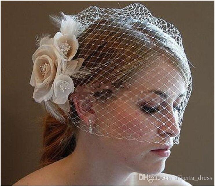 Wedding Birdcage Velos Champagne Ivory Flores Blancas Feather Birdcage Veil Nupcial Wedding Hair Pieces Accesorios Nupciales