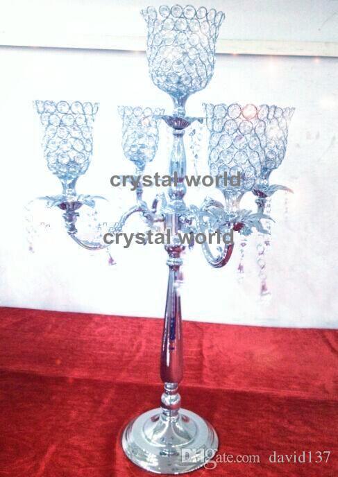 Candelabro in cristallo a 5 braccia all'ingrosso decorazione di nozze 12