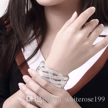 Groothandel - detailhandel laagste prijs kerstcadeau, gratis verzending, nieuwe 925 zilveren mode armband B033