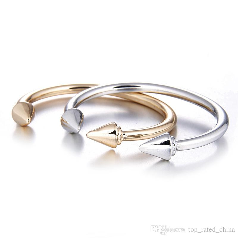 Fashion silver gold plated rivet charm bracelet diamante zircon open bracelet for women cheap jewelry B0344