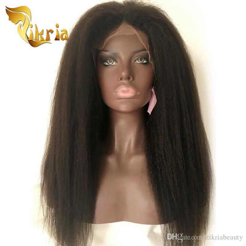 Brésilien Vierge cheveux crépus droit indien malaisienne péruvienne pleine dentelle perruques Kinky Perruques droites avant de dentelle pour les femmes noires